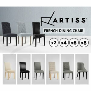 Artiss Dining Chairs French Provincial Kitchen Chair Fabric Leather Wood 2/4/6/8