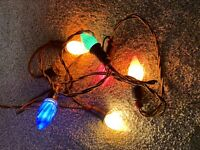 6 Light Strand Of 1940's Christmas Lights Clothe Cord Tested Working