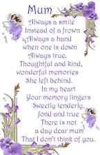 Mum Bereavement Graveside Memorial Keepsake Always A Smile Card F15