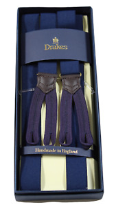NIB - Drake's – Navy Narrow Suspenders, Purple Button-End, Made in England