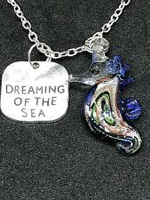 "Seahorse Dream of Sea Blue Gold Charm Tibetan Silver 18"" Necklace D51"