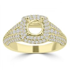 1.27 ct Ladies Round Cut Diamond Semi Mounting Engagement Ring 14 kt Yellow Gold