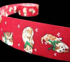"5 Yds Kitty Cats Pets Red Craft Ribbon 1 3/8""W"