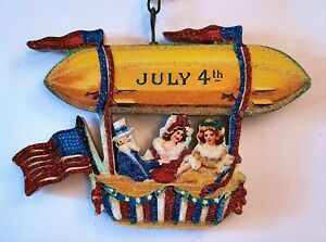 UNCLE SAM in BLIMP w 2 WOMEN, FLAG   Glitter JULY 4 PATRIOTIC ORNAMENT * Vtg Img