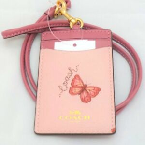 NEW Coach Butterfly Floral Flower Pink Leather Lanyard ID Badge Holder Card Case