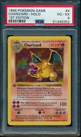 PSA 4 CHARIZARD 1999 Pokemon Base 1ST EDITION THICK STAMP SHADOWLESS Holo VG-EX
