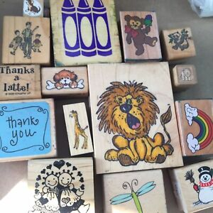 Wood Mount Stamps U PICK Various Single Stamps Stampin Art Impressions Katie Co