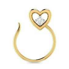 Heart Solitaire Nose Ring Pin Daily Use 14K Yellow Gold Over Silver Round Cut Cz