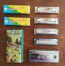 Old Vtg Harmonica Echo Harp Golden Cup Hohner Special 20 Madine Band Lot Of 5