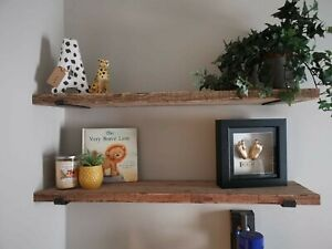 Reclaimed Scaffold Board shelf 80cm long with brackets and fixings included