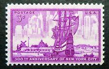 1027 MNH 1953 3c New York CIty Amsterdam Dutch settlers sailing ship harbor