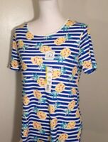 Time and Tru Womens Short Sleeve Scoopneck Size L Blue T-Shirt Stripe Pineapple