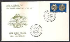 CYPRUS 1977 SCOUTS GIRL GUIDES SCOUTING BADEN POWELL NICE SPECIAL CANCEL COVER
