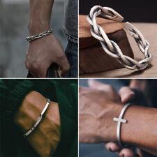 Fashion 925 Silver Retro Twisted Open Bracelet Bangle Cuff Women Men Jewellery