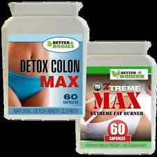 60 XTREME MAX FAT BURNERS & 60 DETOX COLON CLEANSE WEIGHT LOSS SLIMMING PILLS