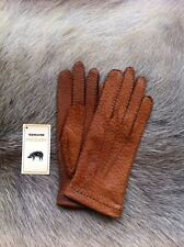 Women's Peccary Leather Gloves with Rabbit fur Lining Winter Gloves Black Brown