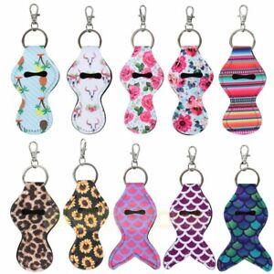 Chapstick Holder Keychain,10 Pieces Different Neoprene Lip Balm Keychain Holders