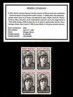 1995 - BESSIE COLEMAN -#2956 Mint -MNH- Block of Four U.S. Postage Stamps
