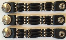 3 Handcrafted Authentic Buffalo Horn Beaded Vest Extenders with Indian Nickel !