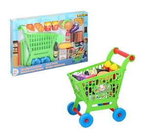 Kids Childrens Shopping Trolley Cart Play Set Toy Gift Plastic Fruit Food 35pcs