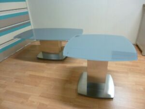 New Contemporary Grey Glass & Steel Coffee & Side Table Set *Furniture Village*