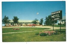 Mounts View Motel Angola Indiana IN US Flag Old Car Flowers Post Card