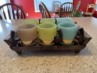 Siesta Ware Pastel Colored Mugs With Tray Set Of 6 Vintage