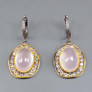 Jewelry Fine ART Rose Quartz Earrings Silver 925 Sterling   /E51602