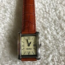VINTAGE NAUTICA RECTANGLE WATCH ROMAN NUMERALS BROWN LEATHER BAND NWOT