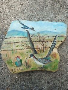 Rustic Country Roadrunner  Cactus Barbed Wire  Painted  Stone Slab Southwest Art