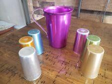 Vinatge Bascal Retro Aluminum Tumbler 6 Cups And Pitcher