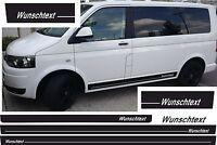 VW T4 T5 T6 BUS SEITENSTREIFEN AUFKLEBER WUNSCH LOGO TEXT FARBE
