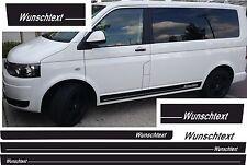 VW  T5 / T6  BUS Seiten-Streifen SATZ WUNSCHTEXT LOGO UND FARBE AUFKLEBER