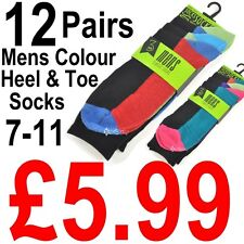 12 Pairs Mens Coloured Heel and Toe Socks Shoe Size 7-11 Designer Fashion Colour
