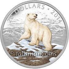 Canada 2014 Iconic Canadian Animals #1 Proud Polar Bear $20 Color Silver Proof