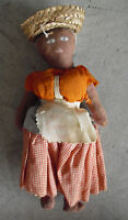 "Vintage 1960s  Cloth Black Ethnic Girl Character Doll with Basket 9 1/2"" LOOK"