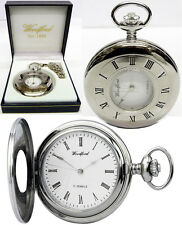 Woodford Half Hunter Pocket Watch, 17 Jewel, Chrome Hands, Free Engraving (1080)