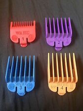 WAHL COLOURED CLIPPER ATTACHMENT COMBS SET 1,2,3,4 IN COLOUR *NEW*