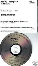 TEDDY THOMPSON In My Arms PROMO RADIO DJ CD Single 2008