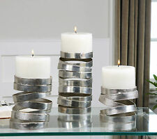 3 URBAN ABSTRACT METALLIC SILVER COIL PILLAR CANDLE HOLDERS AGED WHITE CANDLES