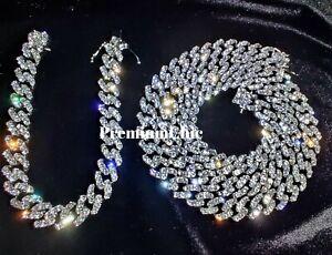 Miami Cuban Diamond (Simulated) Link Chain COMBO SET Iced Mens Hip Hop Jewelry