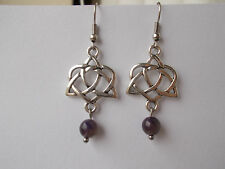 Silver Tone Triquetra Heart  Earrings Amethyst Gemstone Beads Pagan