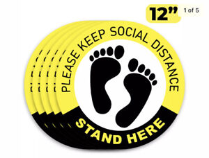 "Social Distancing Floor Decals Stickers PLEASE KEEP SOCIAL DISTANCE 12"" Sign"
