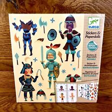 Djeco Stickers & Paperdolls 8 Knights to Dress 4 Sheets Reusable  New Sealed