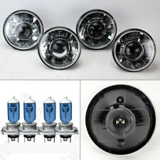 "FOUR 5.75"" 5 3/4 Round H4 Clear Projector Glass Headlights w/ Bulbs Set Pontiac"