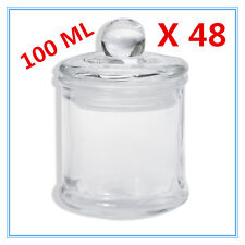 48 x Glass Apothecary Candy Jar with Lid for Candy Candle Waxing Mini 100ml AP