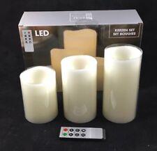 3 LED Kerzen aus Echtwachs mit Fernbedienung Timer 8 Funktionen Batteriebetrieb