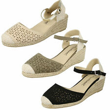 LADIES ANNE MICHELLE MID WEDGE HEELED TOECAP BUCKLE ANKLE STRAP SANDALS F2252