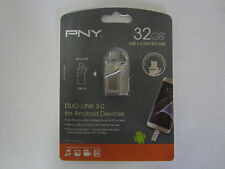 Brand New! PNY 32GB DUO-LINK USB 3.0 Flash Drive for Android  P-FDI32GOTGTO30-GE