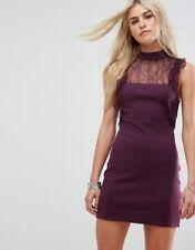 "NWT Free People ""Beaumont Muse"" Mini Dress w/ Lace, Plum, Size Small"